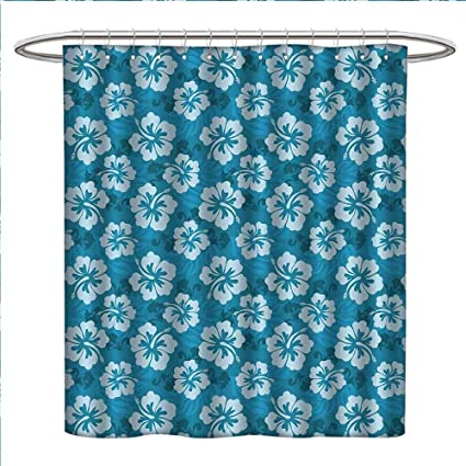 Davishouse Hawaiian Decorations Shower Curtains Fabric Hibiscus Flowers And Leaves Fashion Design Style Artwork