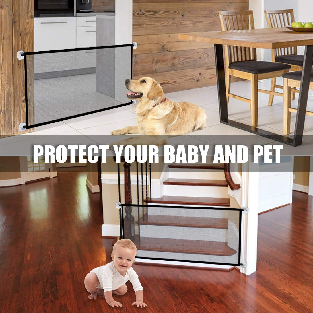 43.3''x28.3''Magic Dog Gate,Portable Folding Pet Safety Gate,Baby Safety Fence for House Indoor Stair/Doorway Use by Bedtime Originals (Image #3)
