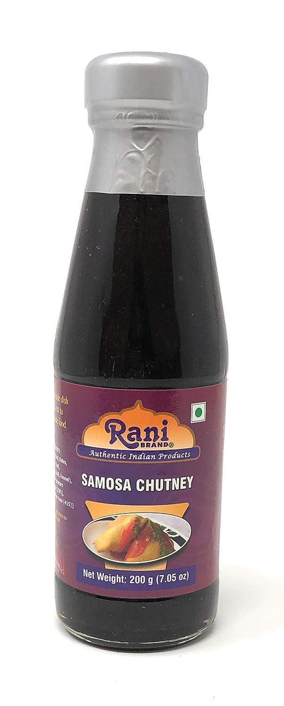 Rani Samosa Chutney (Sweet, Sour & Spicy Dipping Sauce) 7oz (200g) Glass Jar, Ready to eat, Vegan ~ Gluten Free   NON-GMO   No Colors   Indian Origin