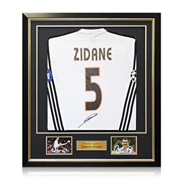 bf1004832 Zinedine Zidane Signed Real Madrid 2003-04 Football Shirt With Long Sleeves  And Champions League Starball. In Deluxe Black Frame With Gold Inlay  ...