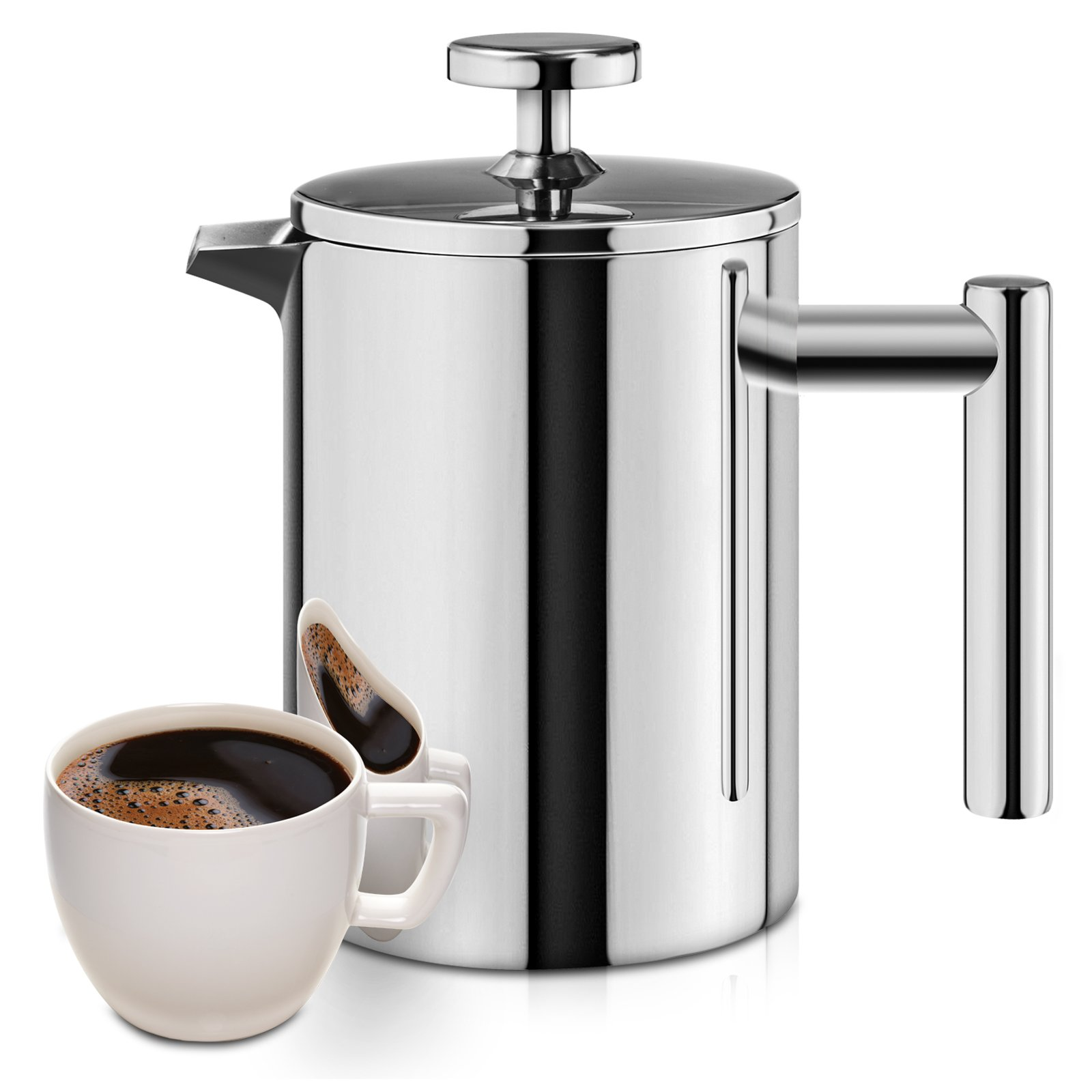 French Press, 18/10 Stainless Steel Double Wall Insulated Coffee Maker, 12 ounce