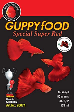 Comida para peces guppy color rojo- Guppyfood Super Red Special 80g
