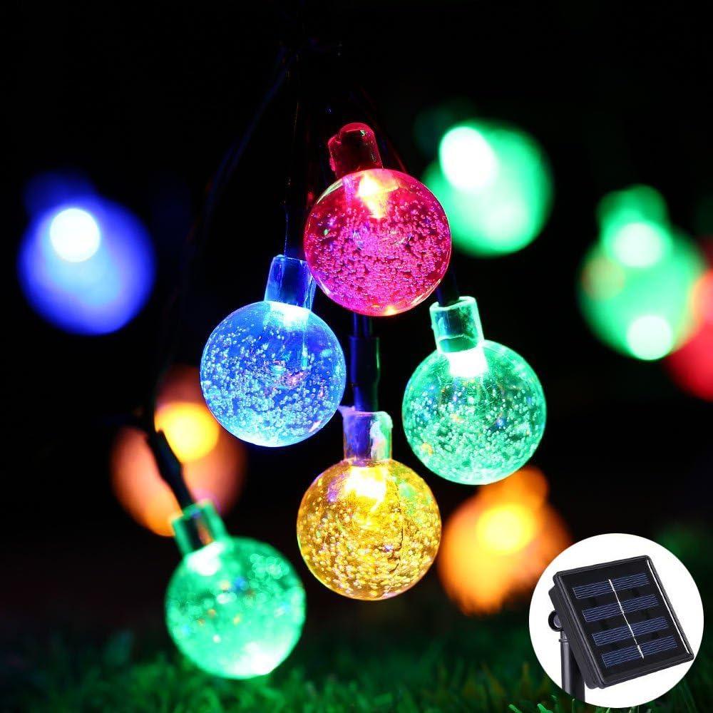 Solar Lichterkette Bunt 80 LEDs mit Farbwechsel Blumen Garten Deko warmweiß