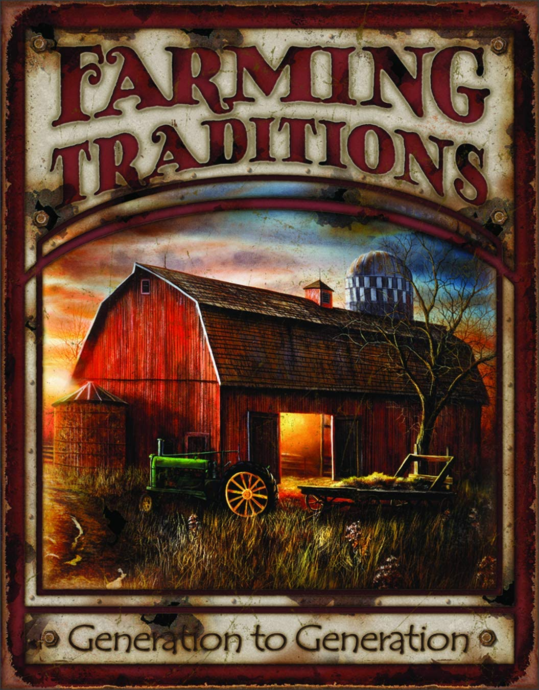 "Desperate Enterprises Farming Traditions Tin Sign, 12.5"" W x 16"" H"