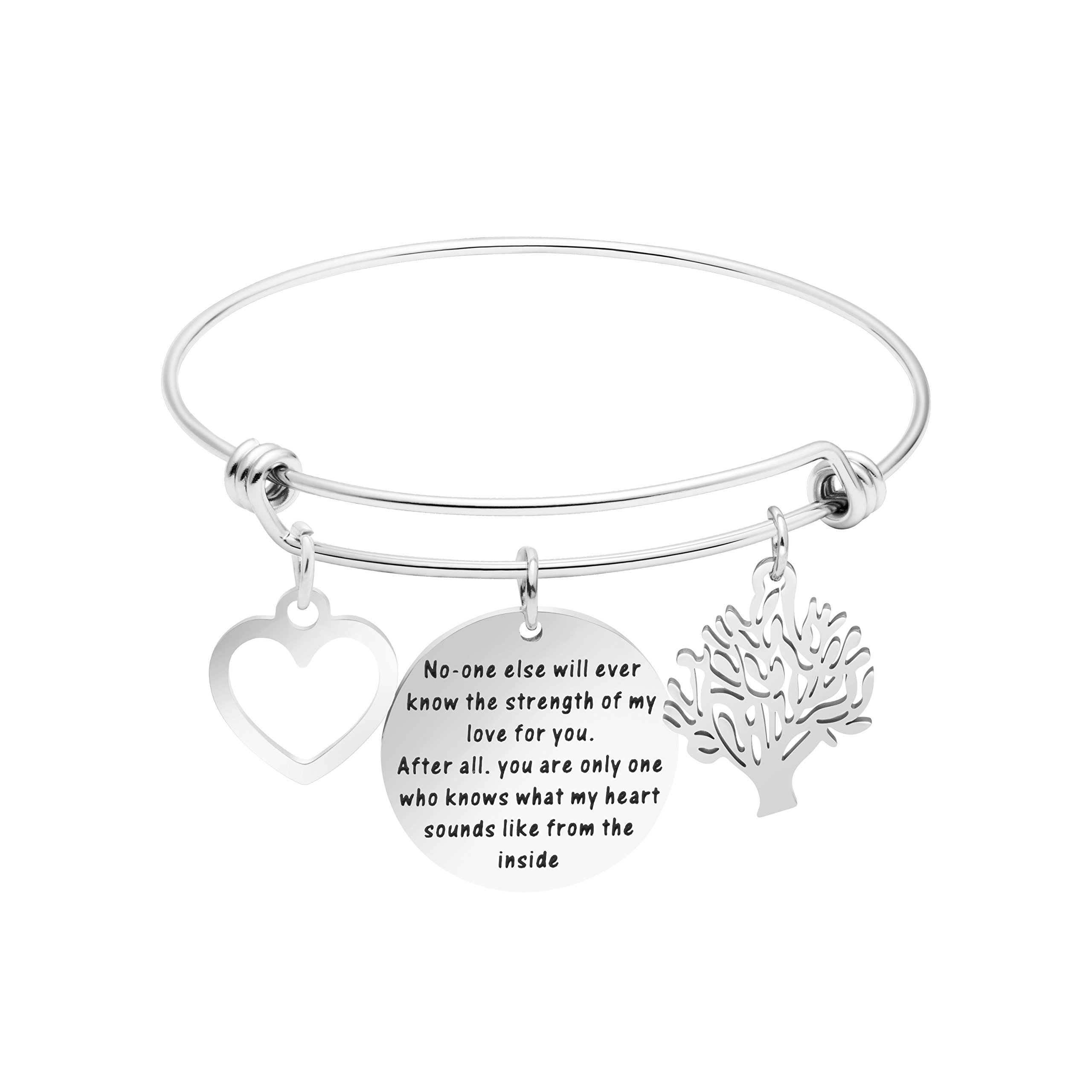 Yiyang Gift for Mother Inspirational Bracelets Stainless Steel Silver Bangle Bracelet Jewelry for Mom Mantra No-one Eles will ever know the strength of my love for you