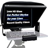 12' Aluminum Teleprompter Multi-Purpose for Smartphone Tablet DSLR Video Camera, APP Compatible with iPad/Android Tablet…