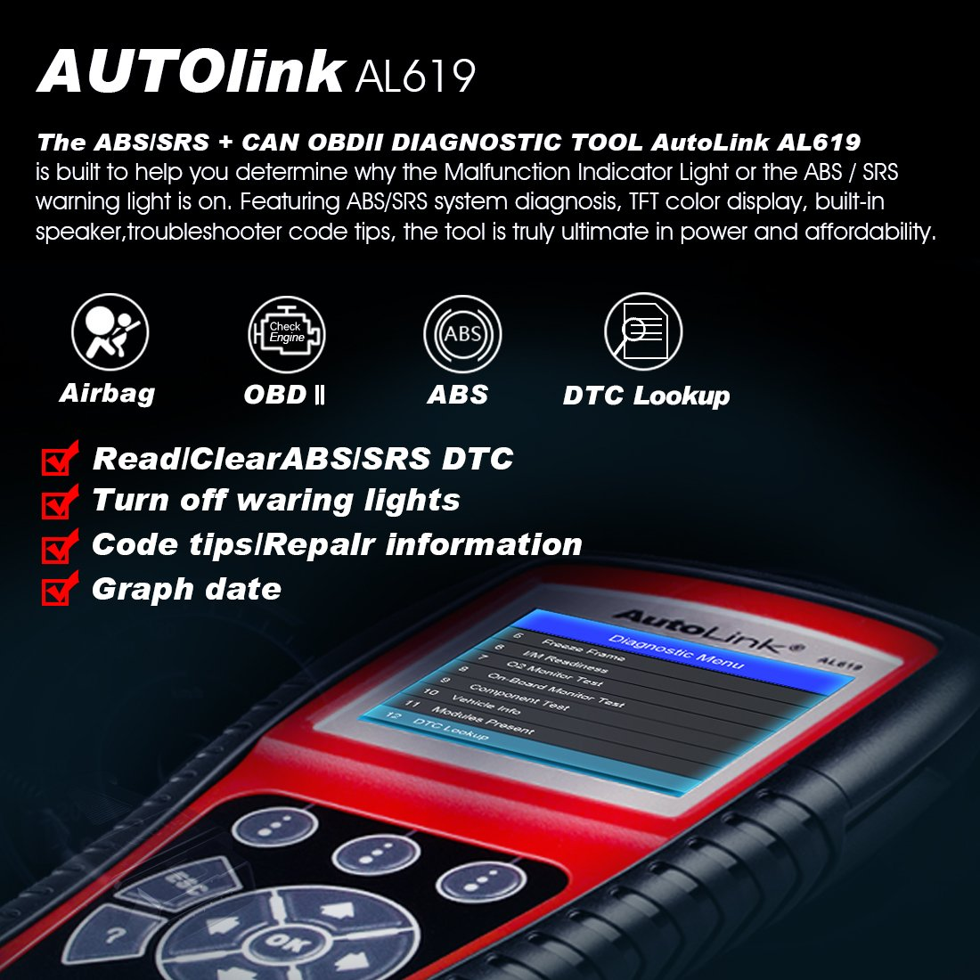 Autel Al619 Autolink Engineabssrs Auto Obd2 Scanner 2010 Prius Obd Ii Wiring Diagram Car Code Reader Automotive Diagnostic Tool