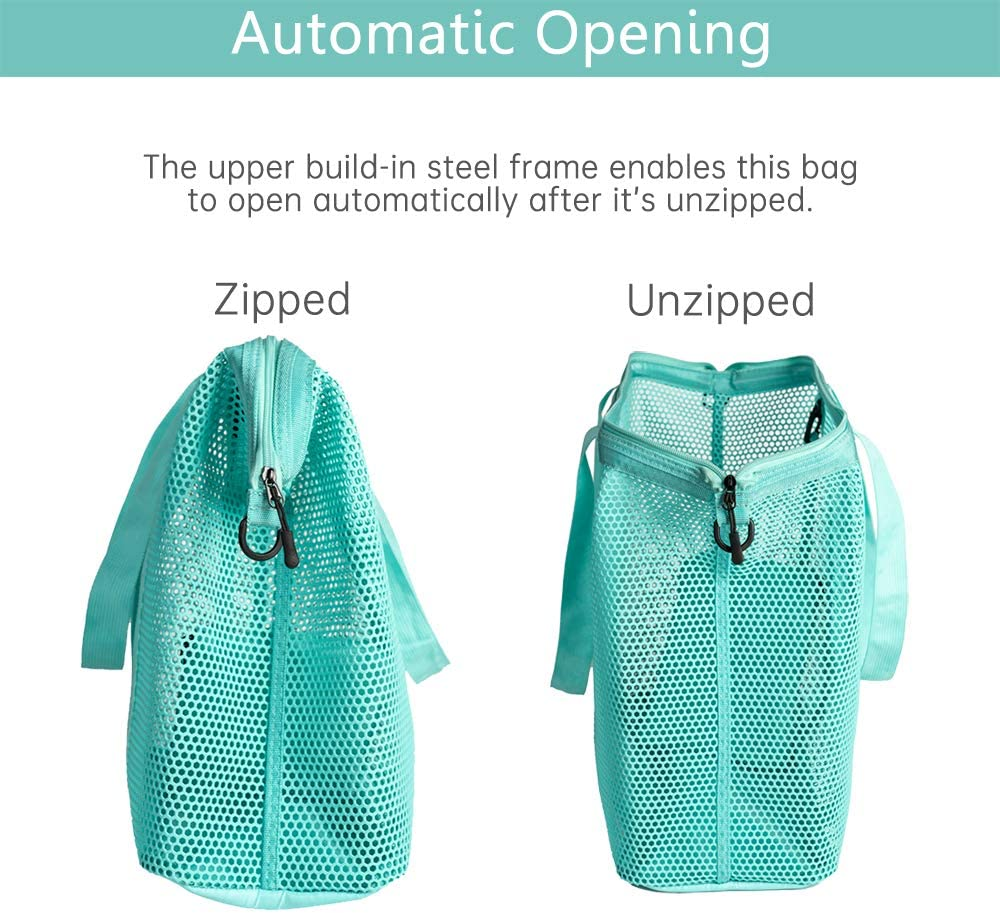 Large Mesh Beach Tote Bag with Durable Zipper 14 X 15 X 7 Automatic Opening and Inner Bag Red 24 Liters for Beach Gym Picnic Traveling Shopping