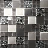 3Set di tessere di mosaico in vetro e acciaio inox Matte in Nero e argento 3Pack 30cm x 30cm X 8mm Tappetini (mt0002X 3)