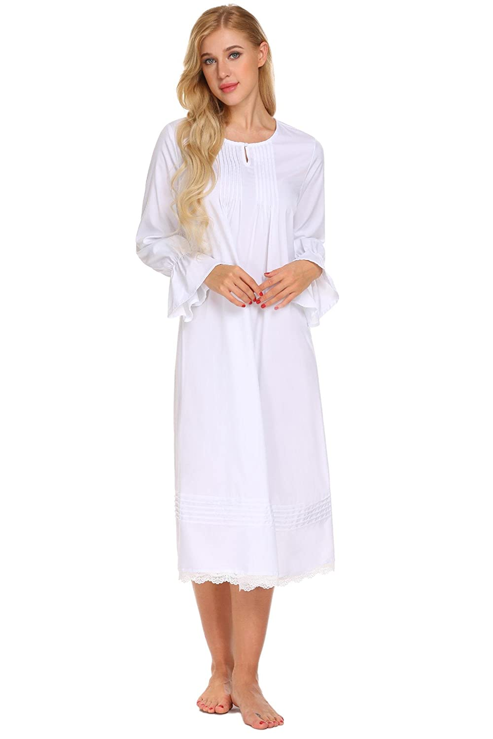 Ekouaer Women Ladies Long Sleeve Nightdress Victorian Vintage Nightgown  Nightwear Midi Dress With Lace  Amazon.co.uk  Clothing 818b7bb74