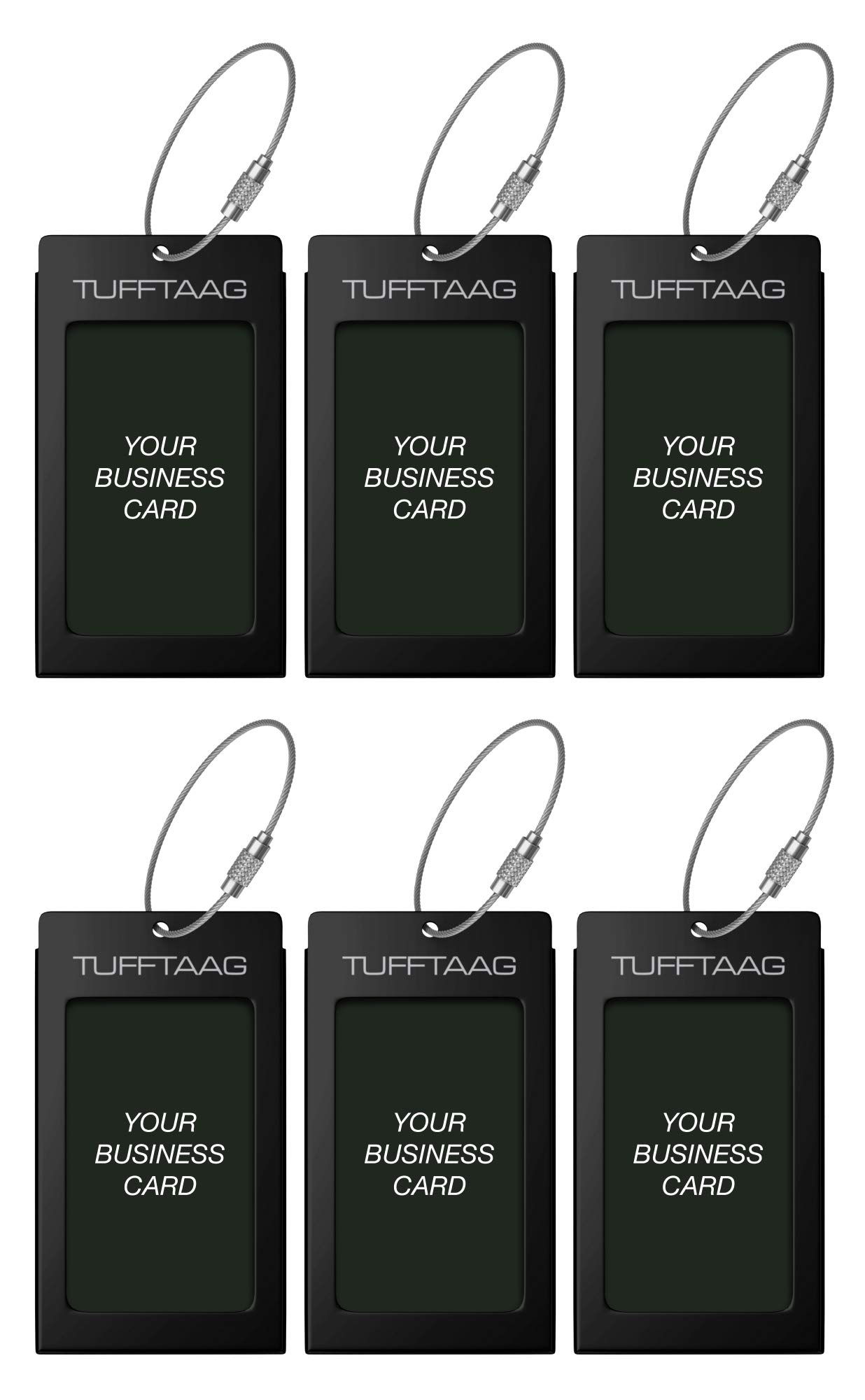 Luggage Tags TUFFTAAG for Business Cards, Metal Suitcase Labels, 6 Pack Bundle (6 Black)