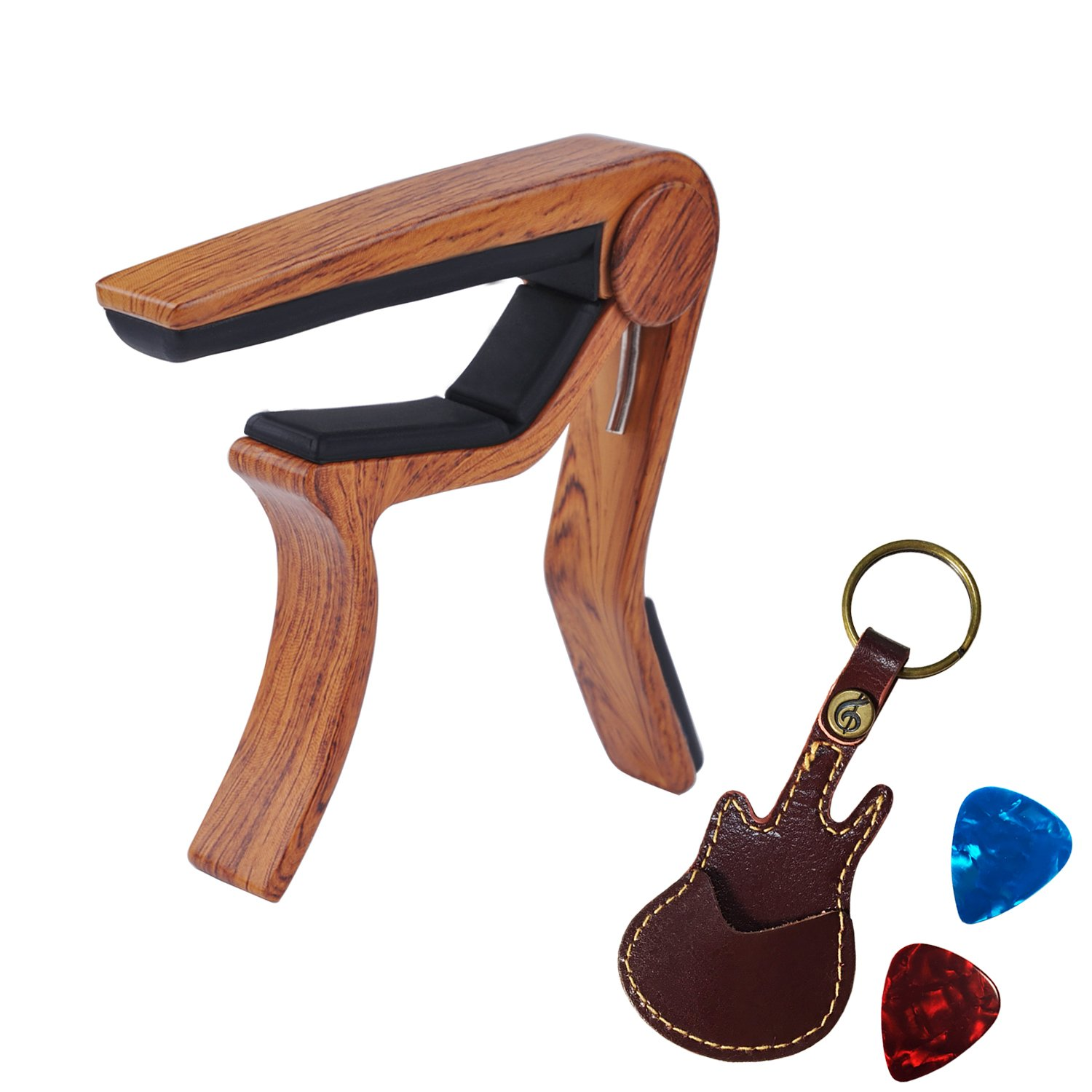 New Guitar Capo, Libershine Trigger Capo/Guitar Picks and Pick Holder Case for Acoustic and Electric Classical Guitar (Redwood Capo+Pick+Pick Holder)