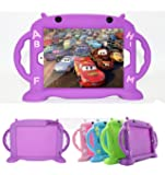iPad Case for Kids, New iPad 2017 / iPad Pro / iPad Air 1 2 / iPad 5 6 Cute Case 9.7 inch Universal Shockproof Silicone Protective Cover with Self Stand [BPA FREE][Side Handles] (Purple)