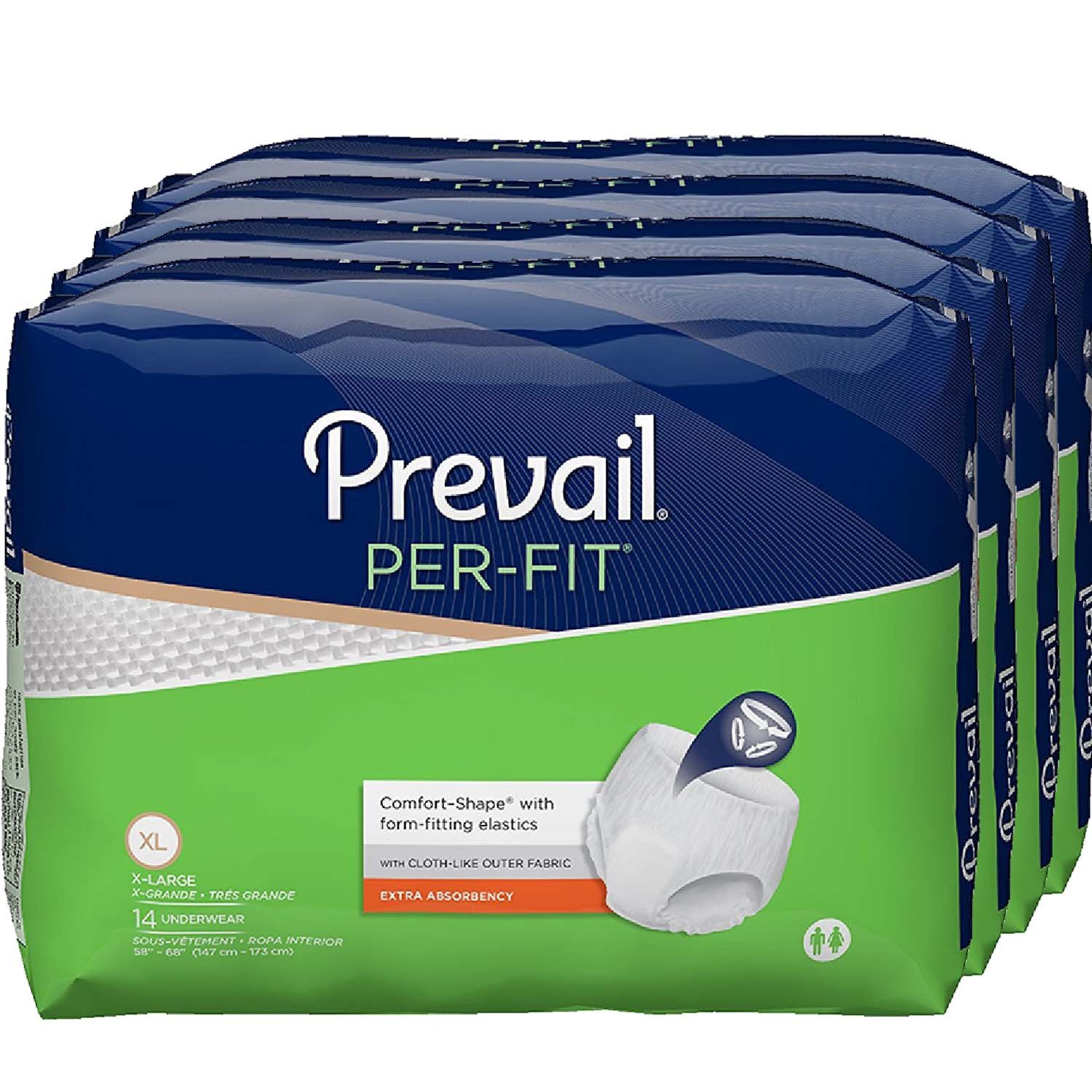 Prevail Per-Fit Extra Absorbency Incontinence Underwear, Extra Large, 14-Count (