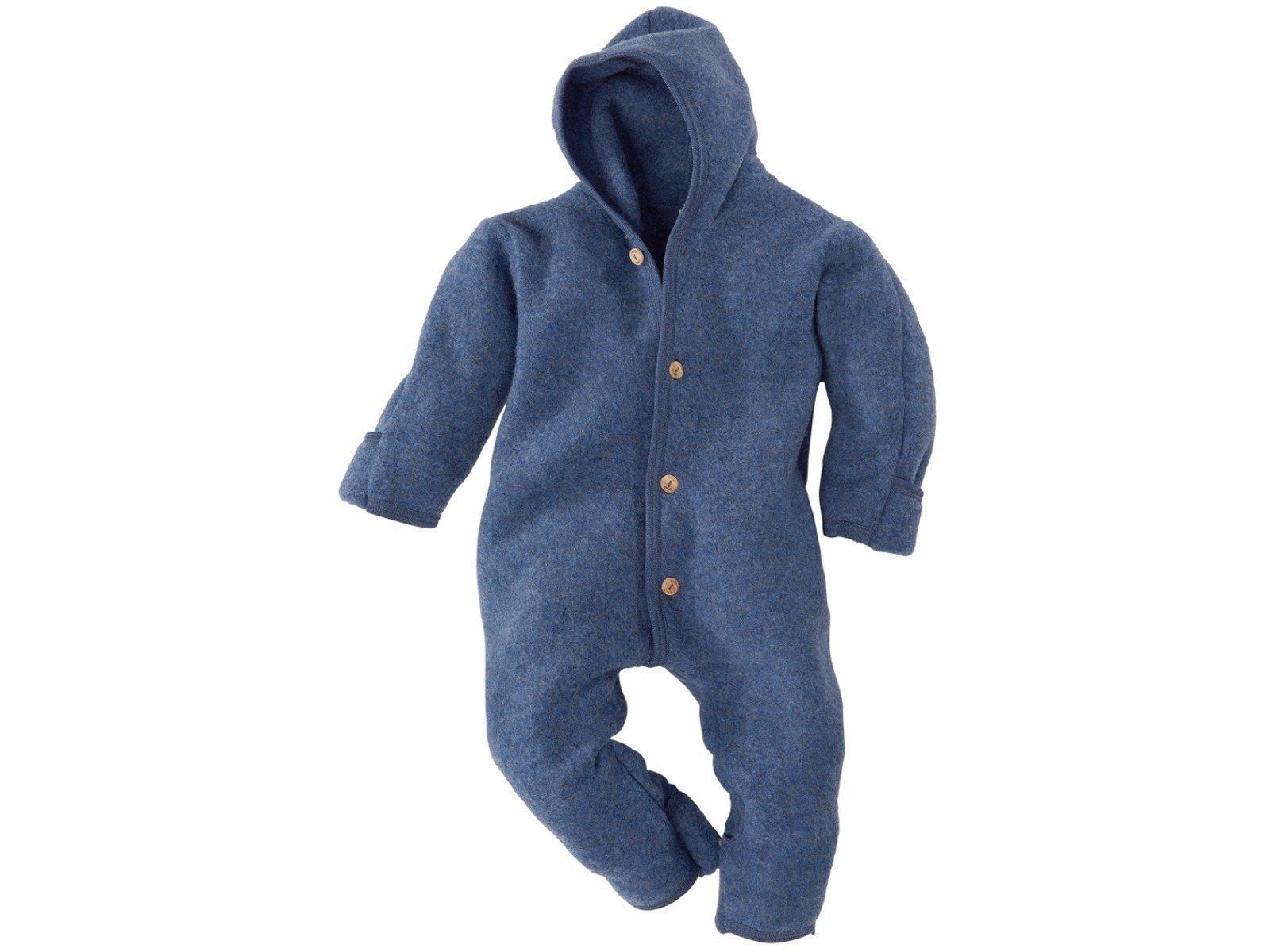 Engel 100% Organic Fleece Merino Wool Overall Romper Made in Germany (86/92 (12-24 Months), Blue Melange)