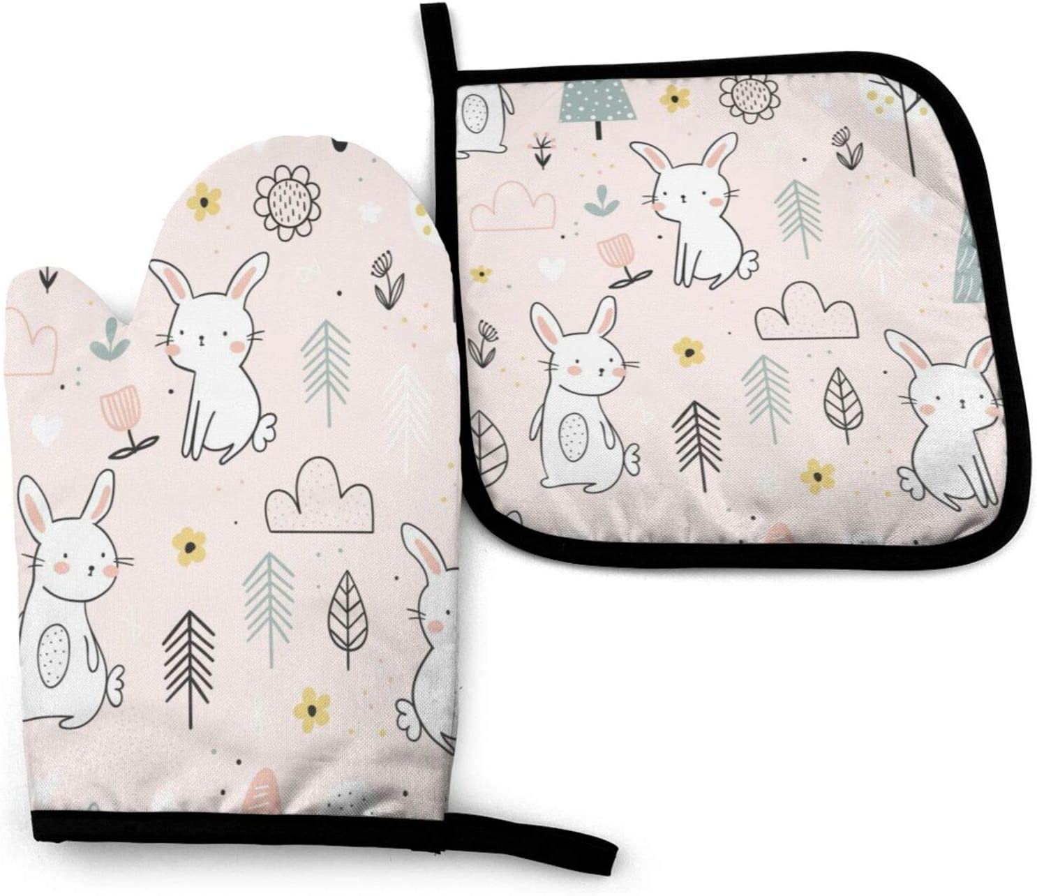 N/W Cute White Bunnies in The Forest Heat Resistant Oven Mitts Soft Cotton Lining with Non-Slip Surface for Safe BBQ Cooking Baking Grilling in Family Oven Mitt 11'' X 6.2'' and Pot Holder 8'' X 8''