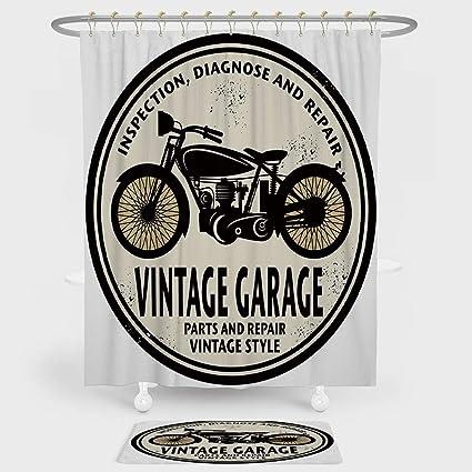 Man Cave Shower Curtain And Floor Mat Combination Set Grunge Retro Rubber Stamp Vintage Garage Custom