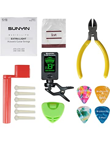 SUNYIN Acoustic Guitar Tool,Kit for Starter with Guitar Strings Winder Cutter Tuner Bridge Pins