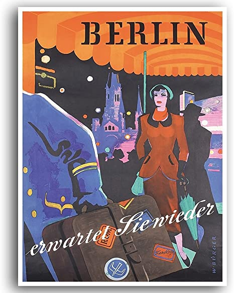 Berlin Germany 1963 Day Vintage Poster Print Retro Style Travel Art Wall Decor