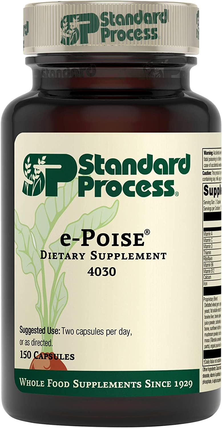 Standard Process e-Poise - Whole Food Energy, Vitality, and Antioxidant Support with Riboflavin, Vitamin B6, Thiamine, Wheat Germ, Vitamin A, Flaxseed Oil, Calcium, Vitamin B12-150 Capsules