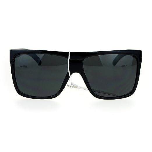97d97e6aafd60 Amazon.com  SA106 All Black Limo Flat Top Mob Oversized Rectangular ...