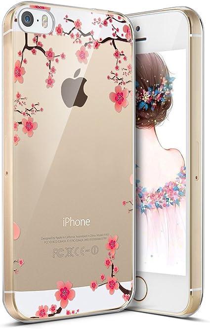 Coque iPhone SE,Coque iPhone 5S,Surakey Transparente Silicone Housse Étui Protection TPU Bumper Téléphone Couverture Crystal Clair Coque pour iPhone ...