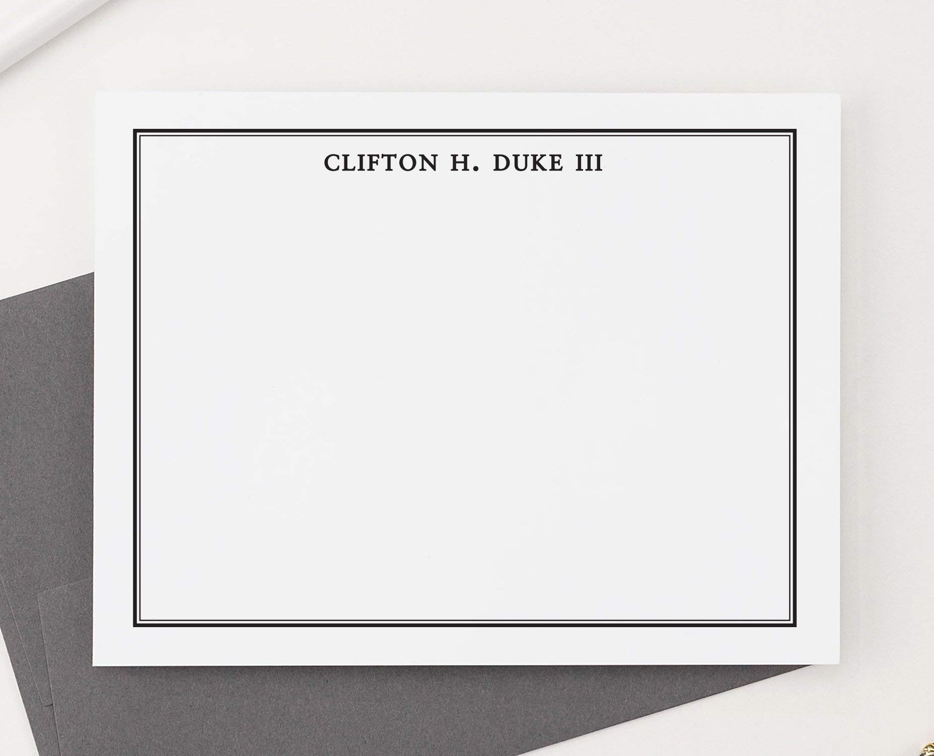 Mens Personalized Stationery Set for Boys, Boys Personalized Thank you Notes, Mens Personalized Note Cards, Mens Stationary Set, Your Choice of Colors, Set of 10 flat note cards and envelopes