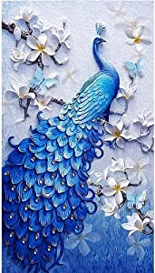 "Kaychan DIY 5D Diamond Painting by Number Kit, Full Drill Diamond Embroidery Kit Home Wall Decor-16x24"" Lucky Bird Peacock"