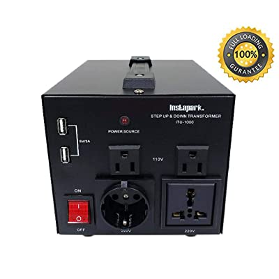 Instapark ITU-1000 Series Heavy-Duty AC 110/220V Step Up/Down Voltage Transformer/Converter with US Standard, Universal, German/French Schuko AC Outlets - 1,000 Watt: Home Audio & Theater [5Bkhe0909237]