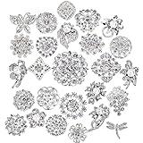 Amazon Com 40 Pcs Silver Rhinestone Brooches Set Crystal Wedding