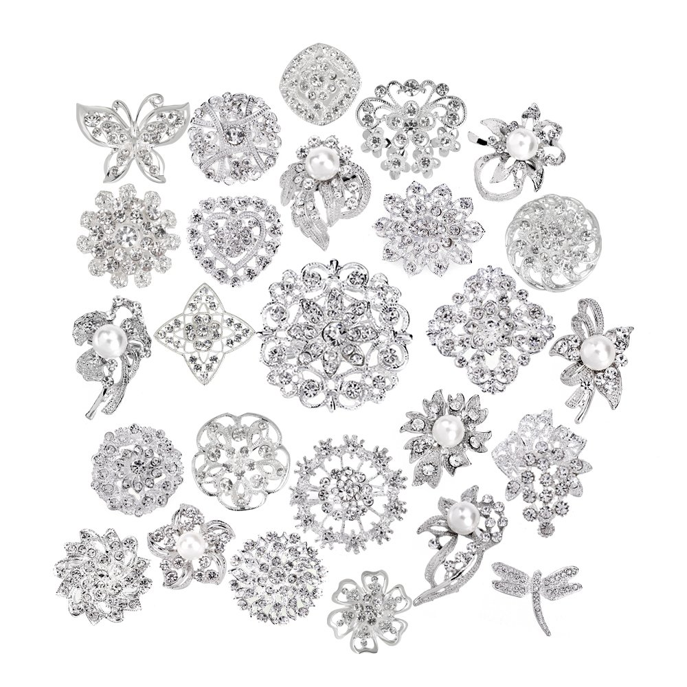 Lot 25pcs bridal and wedding brooch button bouquet kit set Brooches for women by Danbihuabi