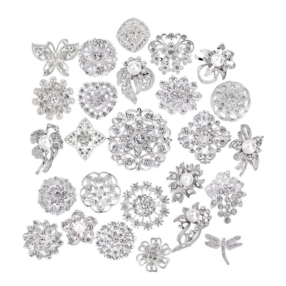 Lot 25pcs bridal and wedding brooch button bouquet kit set