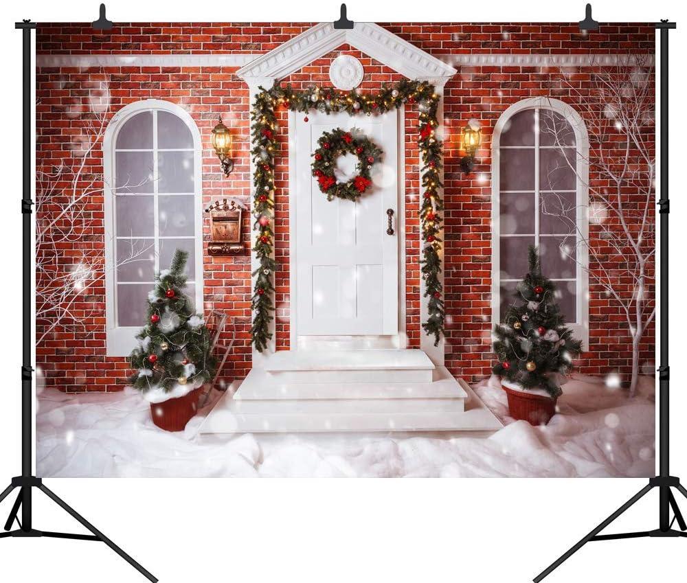 Christmas Theme Backdrop Christmas Tree Light Brick Wall House in The Snow Seamless Vinyl Photography Photo Background Studio Prop PGT273B 270X180CM GoHeBe 9X6FT