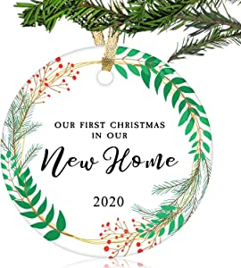 "NURIONSS Our First Christmas in Our New Home Ornaments 2020 - Christmas Wedding Decoration Gift for New Home New Homeowner New Apartment - 2.85"" Ceramic Ornament(New Home 13)"