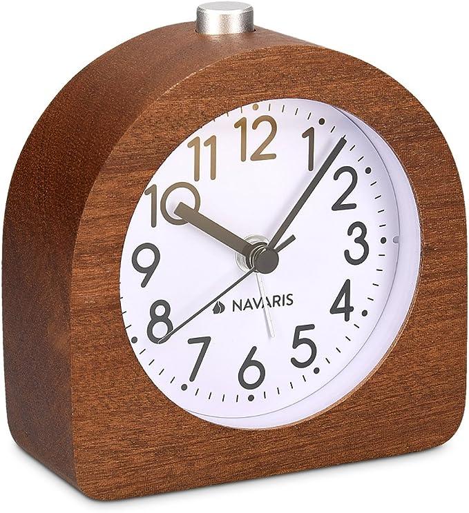 Navaris Despertador analógico - Despertador Madera