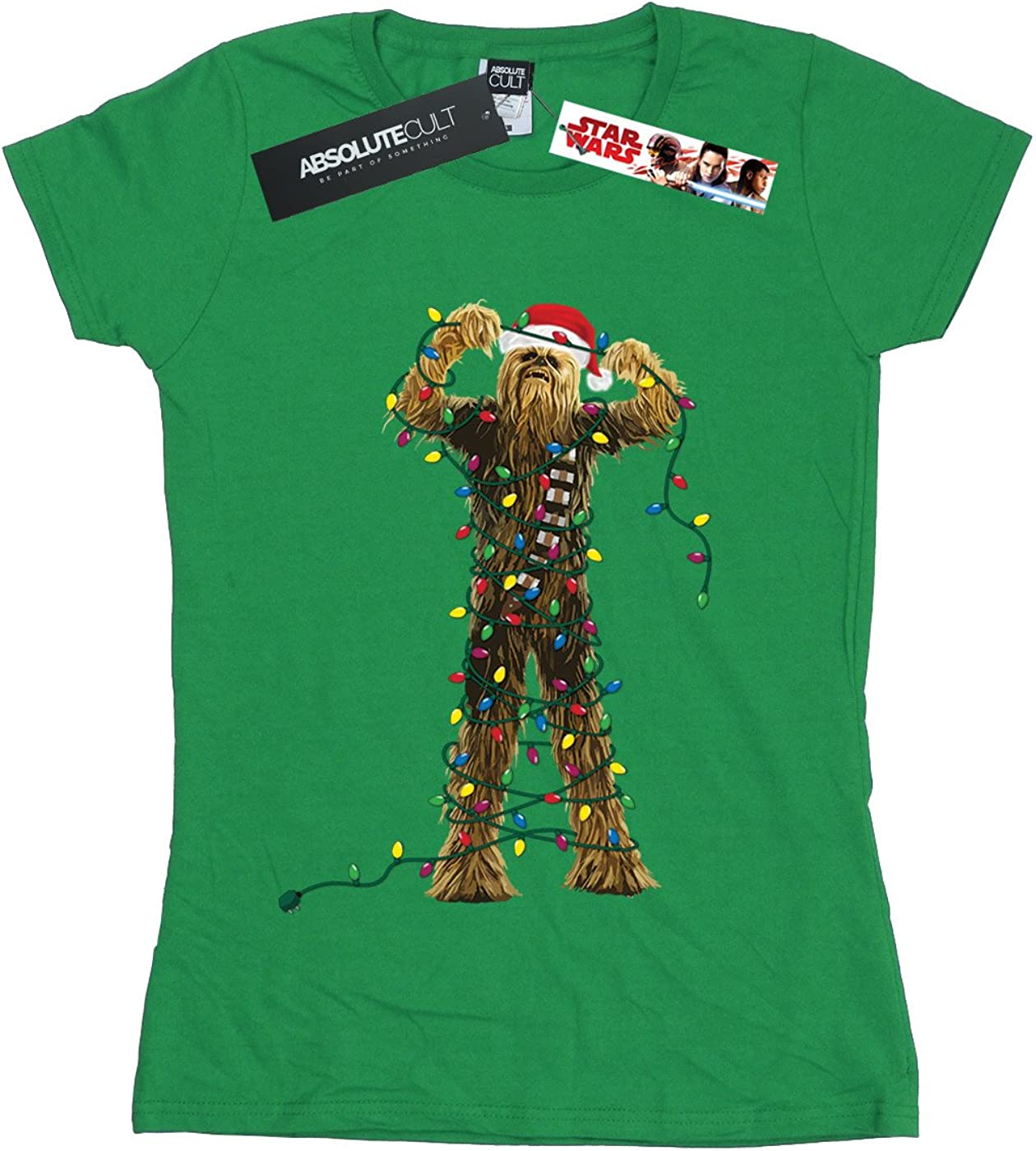 Star Wars Womens Chewbacca Christmas Lights T-Shirt Small Irish Green