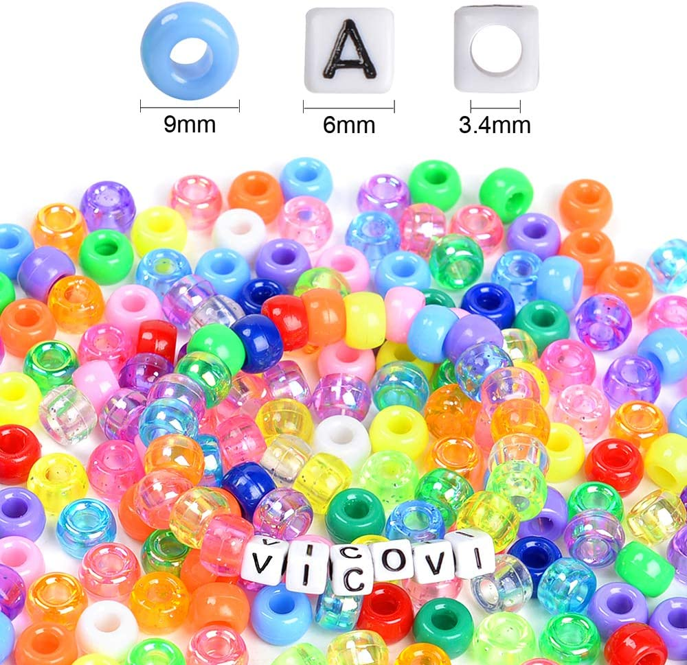 Charms Elastic String /& Waxed Cord. VICOVI 2440pcs Pony Beads Kit for Bracelet Jewelry Making 20+ Heart /& Star Beads 1200 Letter Beads Include 1200 Rainbow Beads