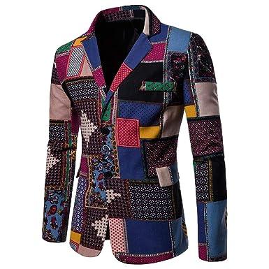 Mens African Coat Flexible Fit Dashiki Fashion Formal Business Suit Jacket Dresswear (M,Multi