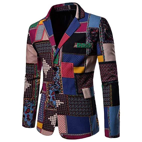Mens Fashion Ethnic Style African Print Dashiki Jacket Coat Casual Business Blazer at Amazon Mens Clothing store: