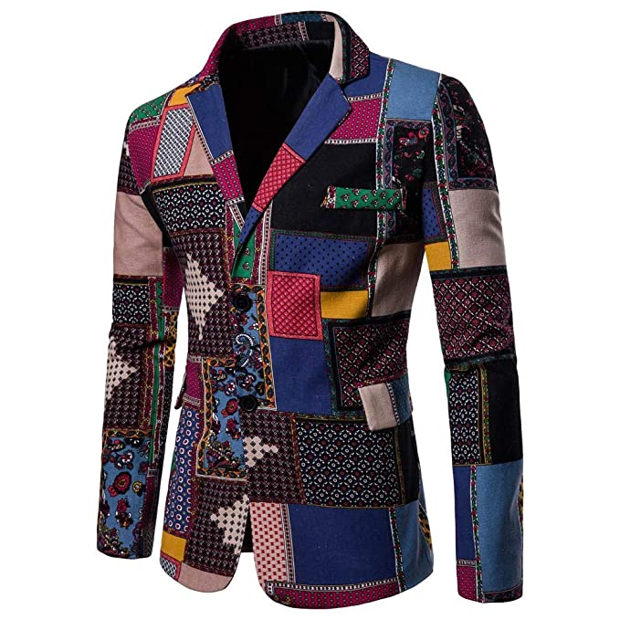 Mens Fashion Ethnic Style African Print Dashiki Jacket Coat ...