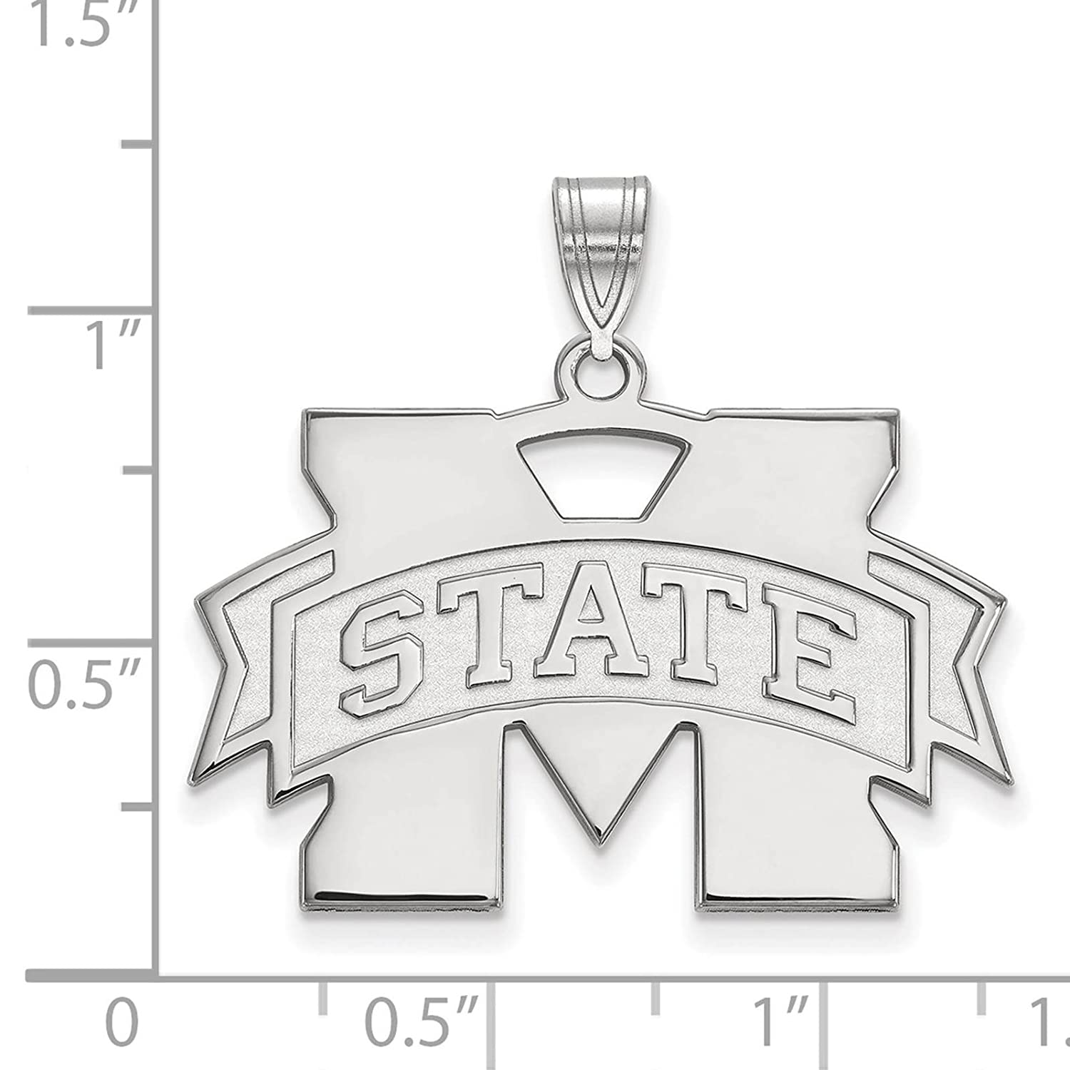 925 Sterling Silver Rhodium-plated Laser-cut Mississippi State University Large Pendant