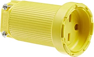 product image for KH Industries C615DF Rubber/Polycarbonate Rewireable Flip Seal Straight Blade Connector, 2 Pole/3 Wire, 15 amps, 250V AC, Yellow