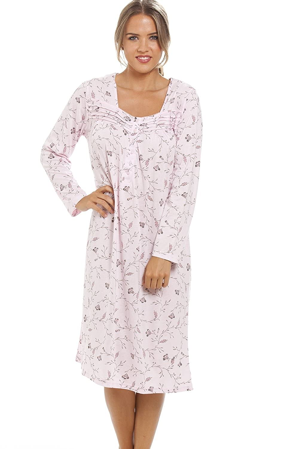 Camille Womens Ladies Classic Floral Print Long Sleeve Pink Nightdress