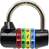 Bosvision 4-Digit Combination Padlock (64mm Width) with 7.8mm Shackle and Colourful dials