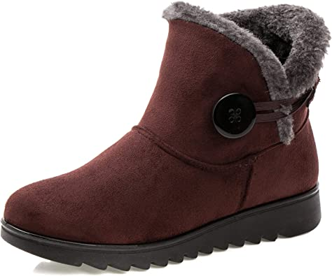 coollight Fur Lined Womens Snow Boots Flock Winter Pull On Ankle Booties Shoes