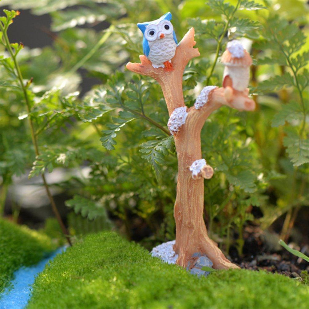 Gris bismarckbeer Fairy Garden Kit Miniature R/ésine Branche darbre Hibou DIY Maison de poup/ée Micro Paysage Ornement R/ésine Taille Unique