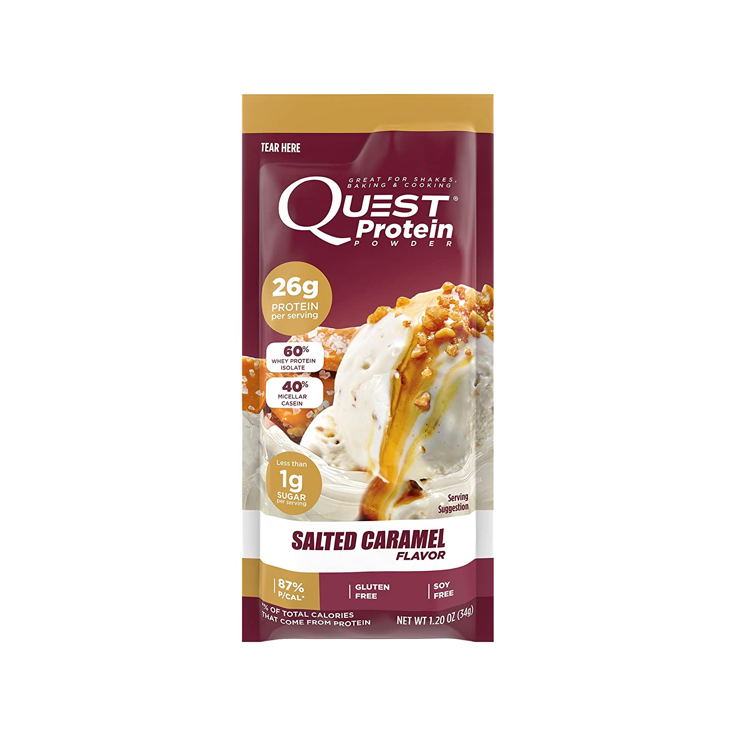 Quest Nutrition Protein Powder, Salted Caramel, 22g Protein, 88 P Cals, 0g Sugar, 3g Net Carbs, Low Carb, Gluten Free, Soy Free, 1.13oz Packet, 12 Count, Packaging May Vary