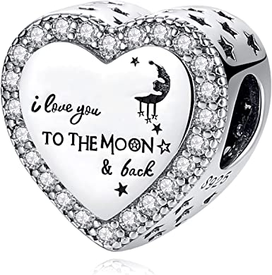 Charm Fit Pandora Charms Bracelet 925 Sterling Silver I Love You To The  Moon & Black for Mom Daughter Wife Gift