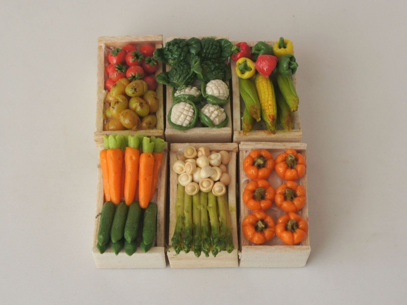 Assorted Miniature Vegetables In Wooden Crate, 6 Pack (Fairy Garden Accessory)