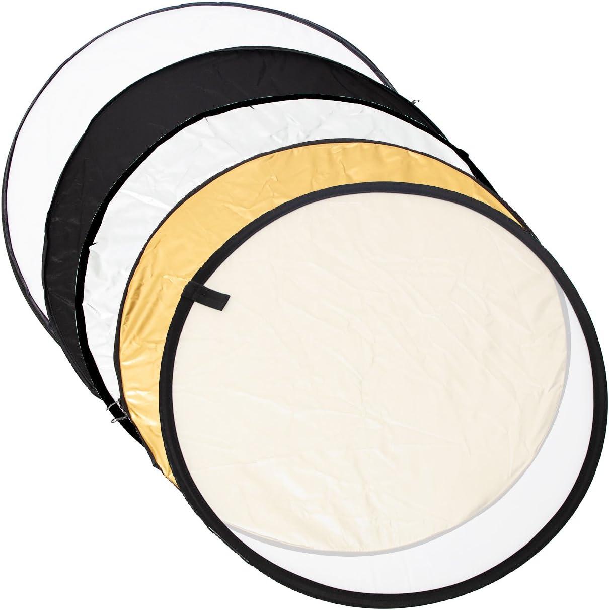 Argent Noir Blanc et Translucide pour studio photo et photographie en plein air TARION 5 en 1 R/éflecteur de Lumi/ère professionnel // Panneau diffuseur pliable environ 60 cm Or